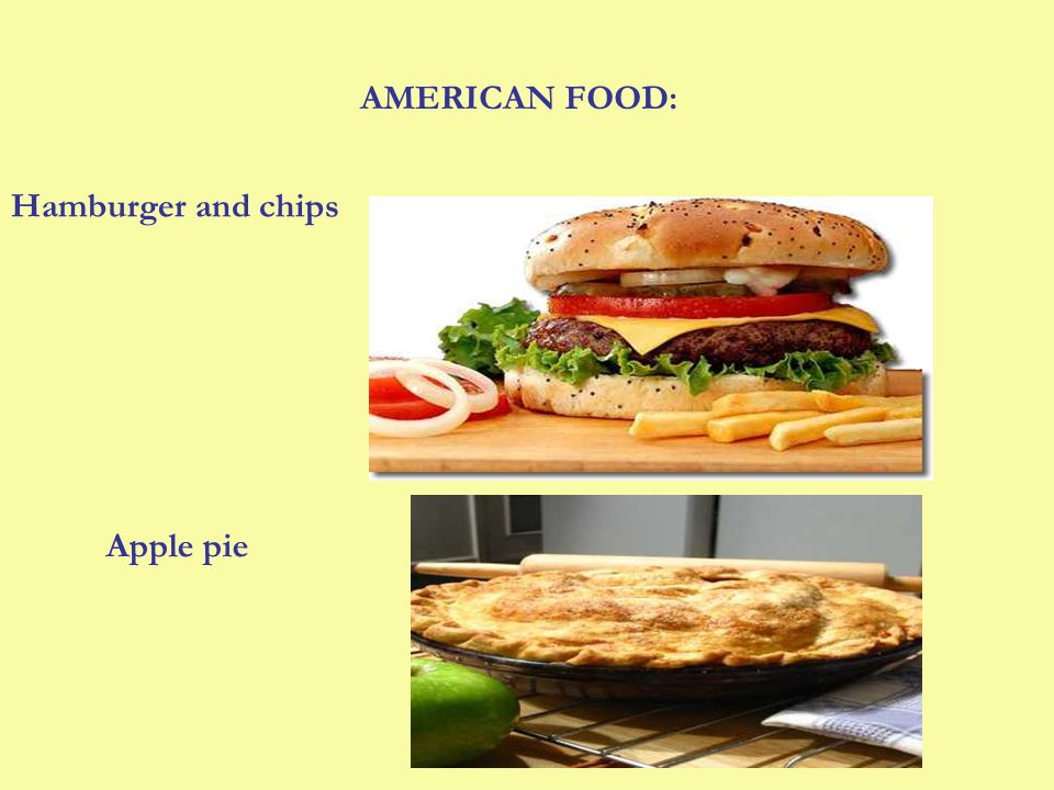 AMERICAN FOOD: Hamburger and chips Apple pie