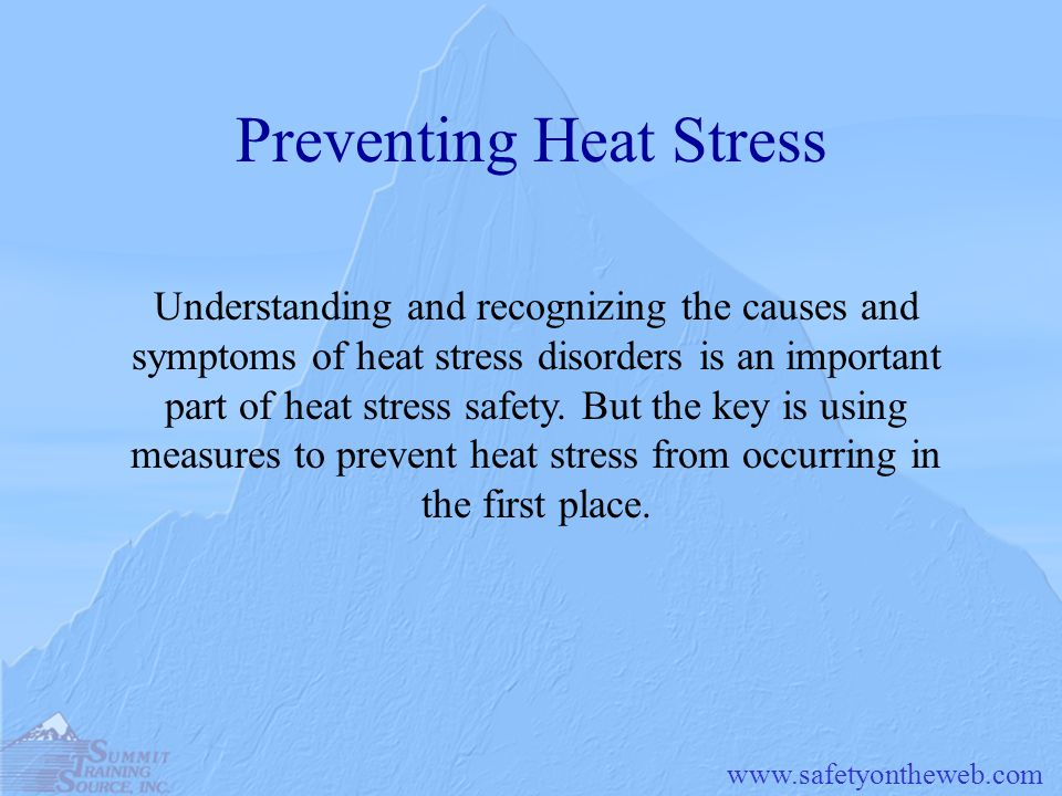www.safetyontheweb.com Preventing Heat Stress Understanding and recognizing the causes and symptoms of heat stress disorders is an important part of h