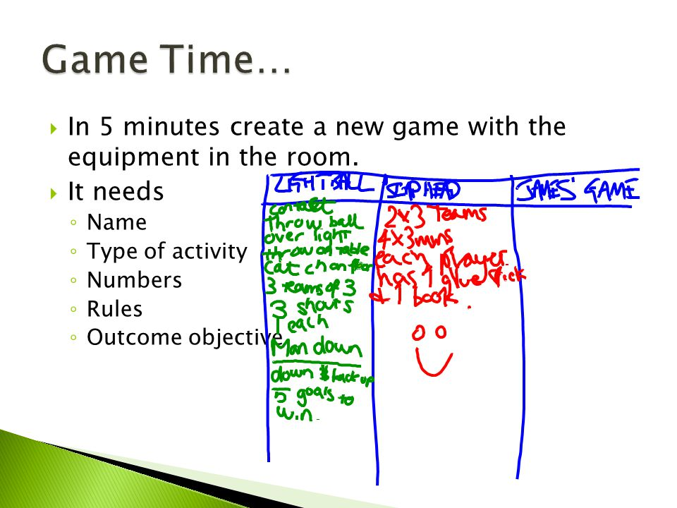 In 5 minutes create a new game with the equipment in the room.