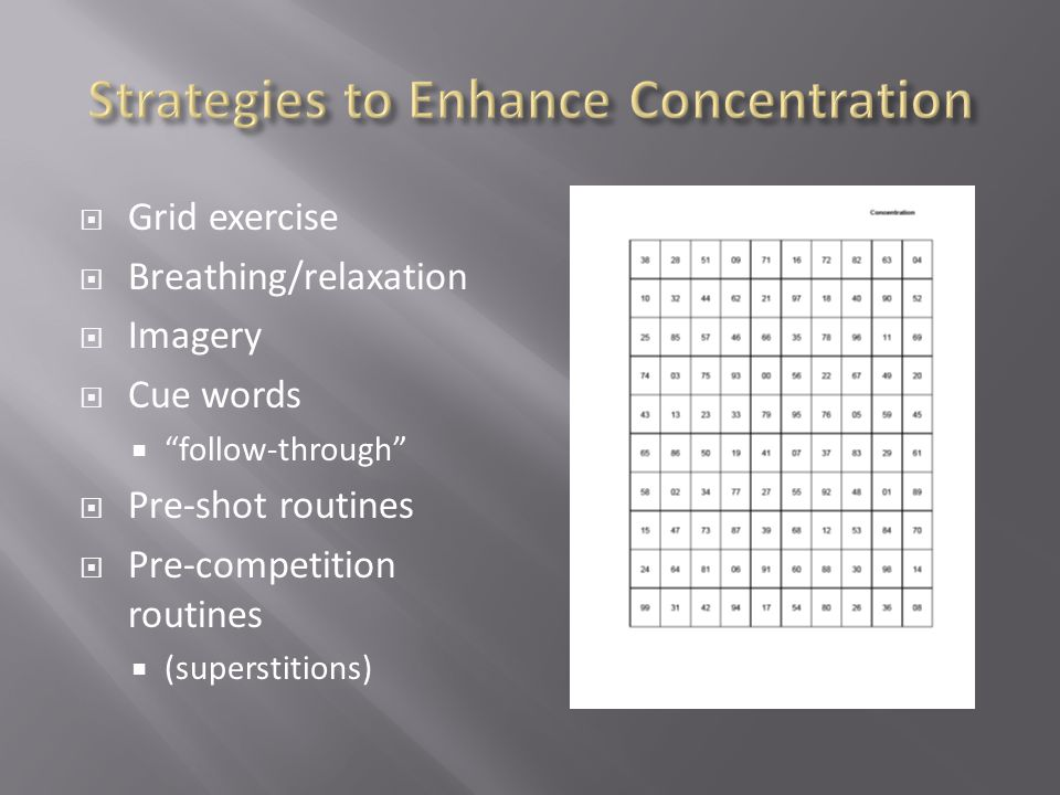 Grid exercise Breathing/relaxation Imagery Cue words follow-through Pre-shot routines Pre-competition routines (superstitions)
