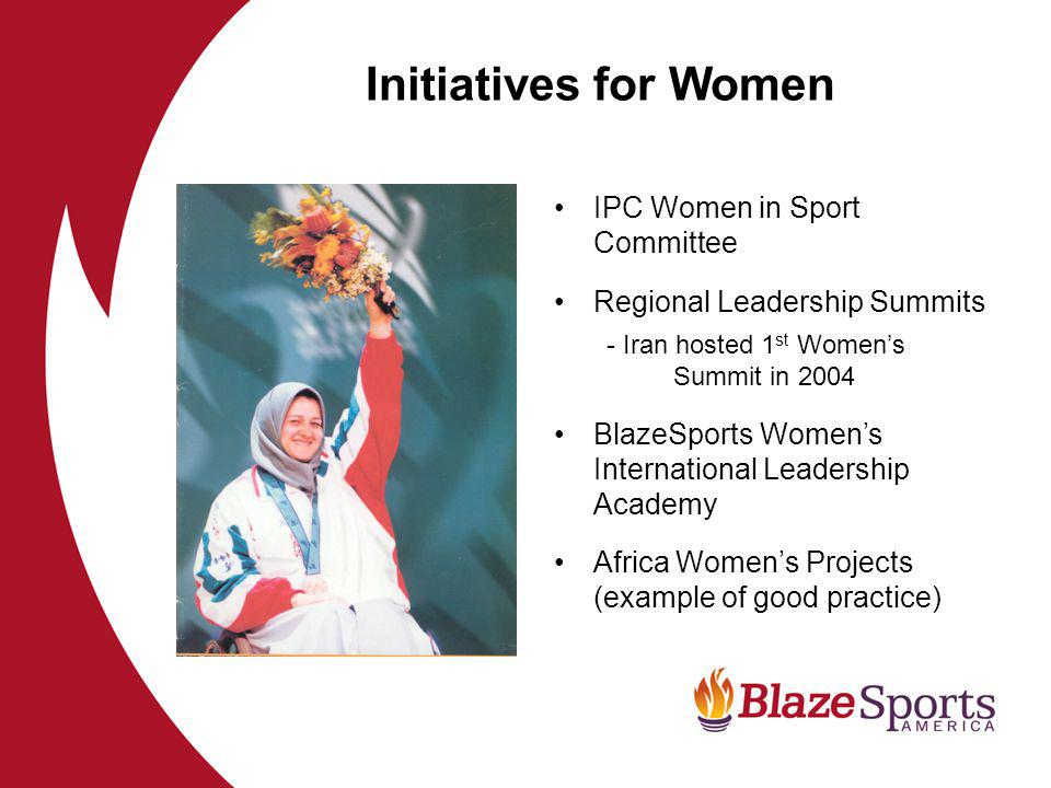 IPC Women in Sport Committee Regional Leadership Summits - Iran hosted 1 st Womens Summit in 2004 BlazeSports Womens International Leadership Academy Africa Womens Projects (example of good practice) Initiatives for Women
