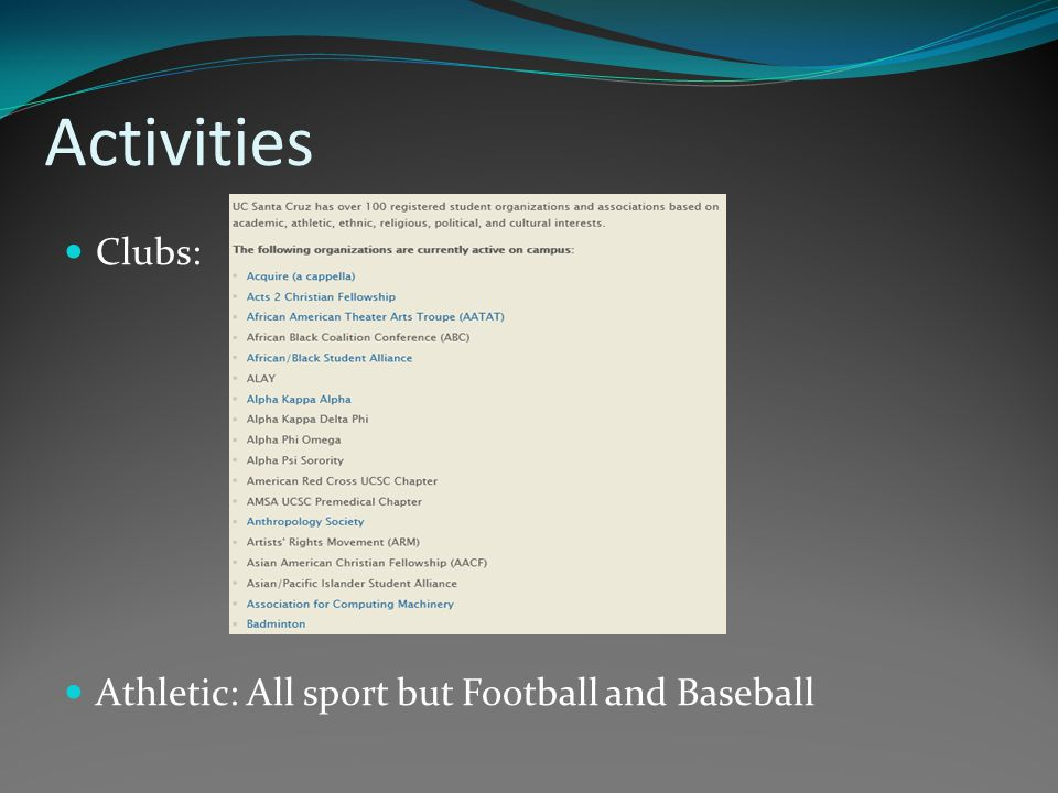 Activities Clubs: Athletic: All sport but Football and Baseball