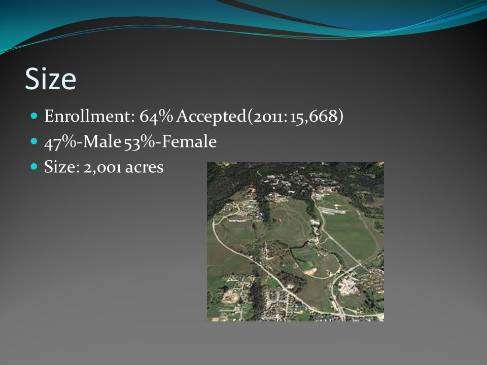 Size Enrollment: 64% Accepted(2011: 15,668) 47%-Male 53%-Female Size: 2,001 acres