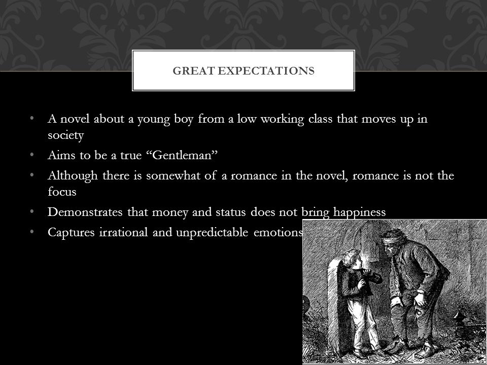 A novel about a young boy from a low working class that moves up in society Aims to be a true Gentleman Although there is somewhat of a romance in the novel, romance is not the focus Demonstrates that money and status does not bring happiness Captures irrational and unpredictable emotions GREAT EXPECTATIONS