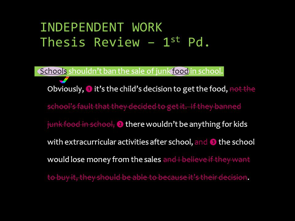 INDEPENDENT WORK Thesis Review – 1 st Pd.Schools shouldnt ban the sale of junk food in school.