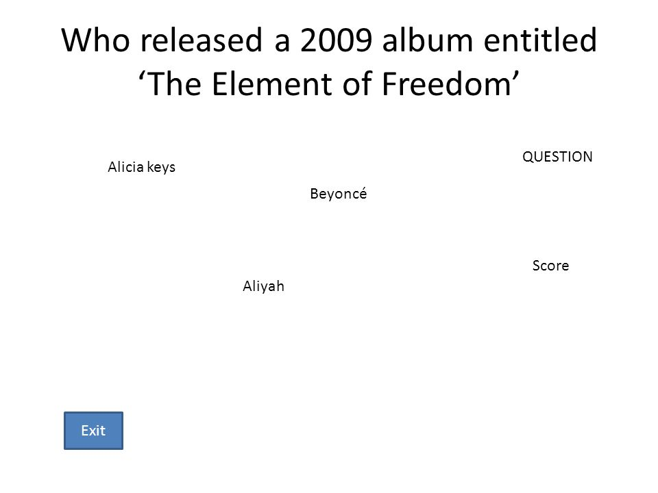 Who released a 2009 album entitled The Element of Freedom Alicia keys Beyoncé Aliyah QUESTION Score Exit