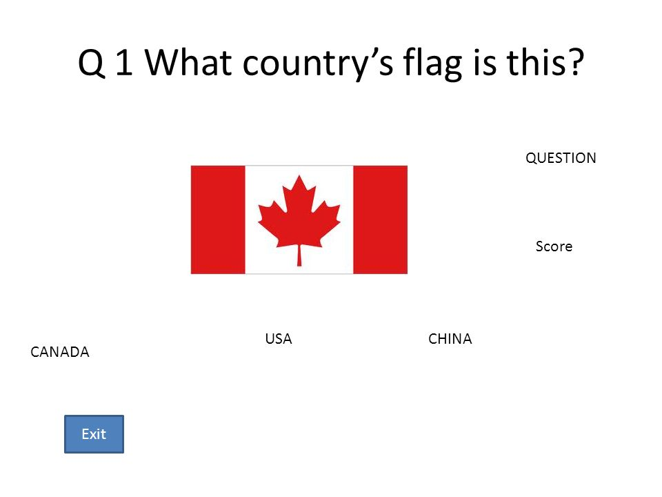 Q 1 What countrys flag is this? CANADA USACHINA QUESTION Score Exit
