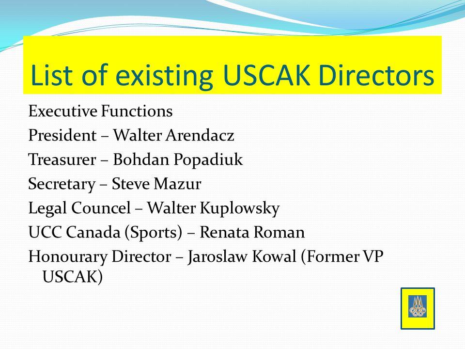 List of existing USCAK Directors Executive Functions President – Walter Arendacz Treasurer – Bohdan Popadiuk Secretary – Steve Mazur Legal Councel – Walter Kuplowsky UCC Canada (Sports) – Renata Roman Honourary Director – Jaroslaw Kowal (Former VP USCAK)