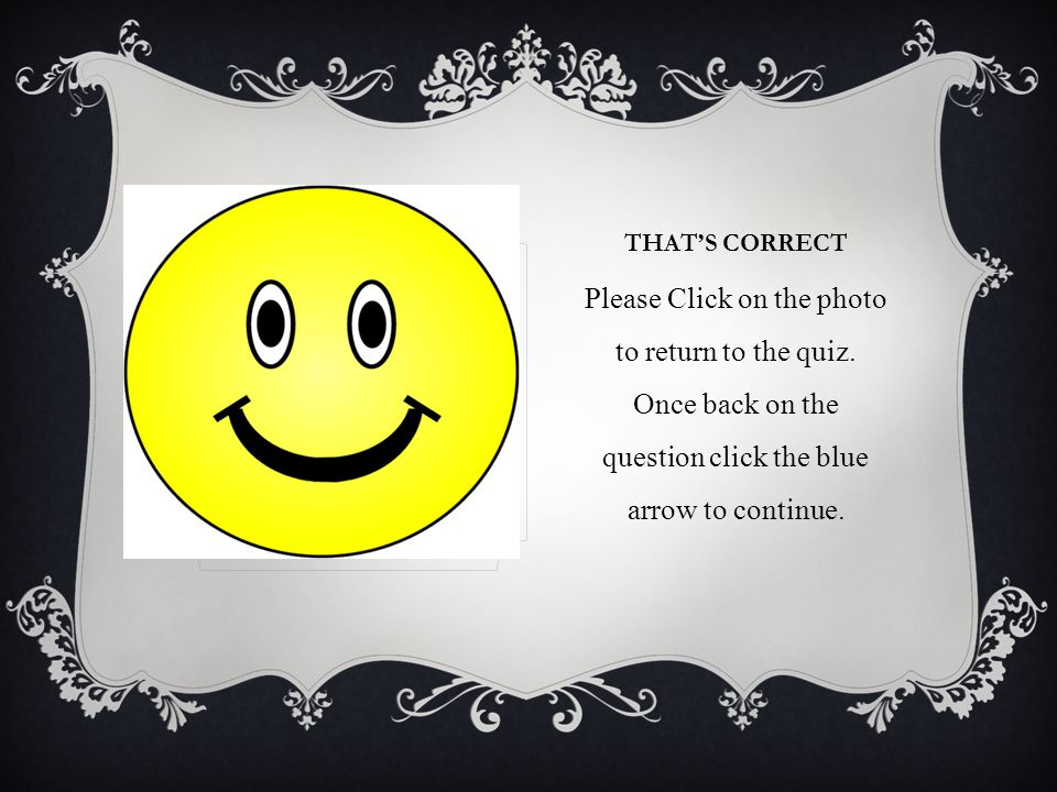 THATS CORRECT Please Click on the photo to return to the quiz.