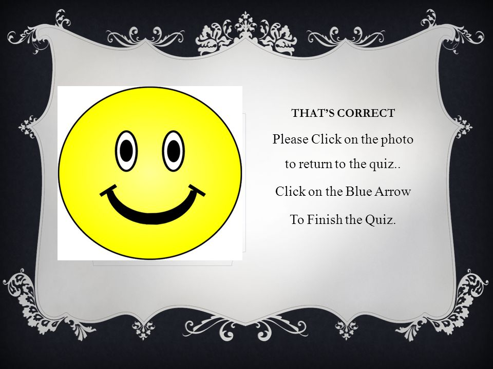 THATS CORRECT Please Click on the photo to return to the quiz.. Click on the Blue Arrow To Finish the Quiz.