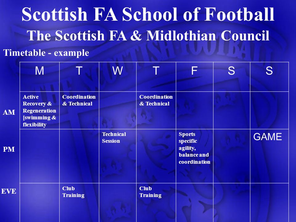 The Scottish FA & Midlothian Council Timetable - example MTWTFSS Active Recovery & Regeneration [swimming & flexibility Coordination & Technical Technical Session Sports specific agility, balance and coordination GAME Club Training AM PM EVE Scottish FA School of Football