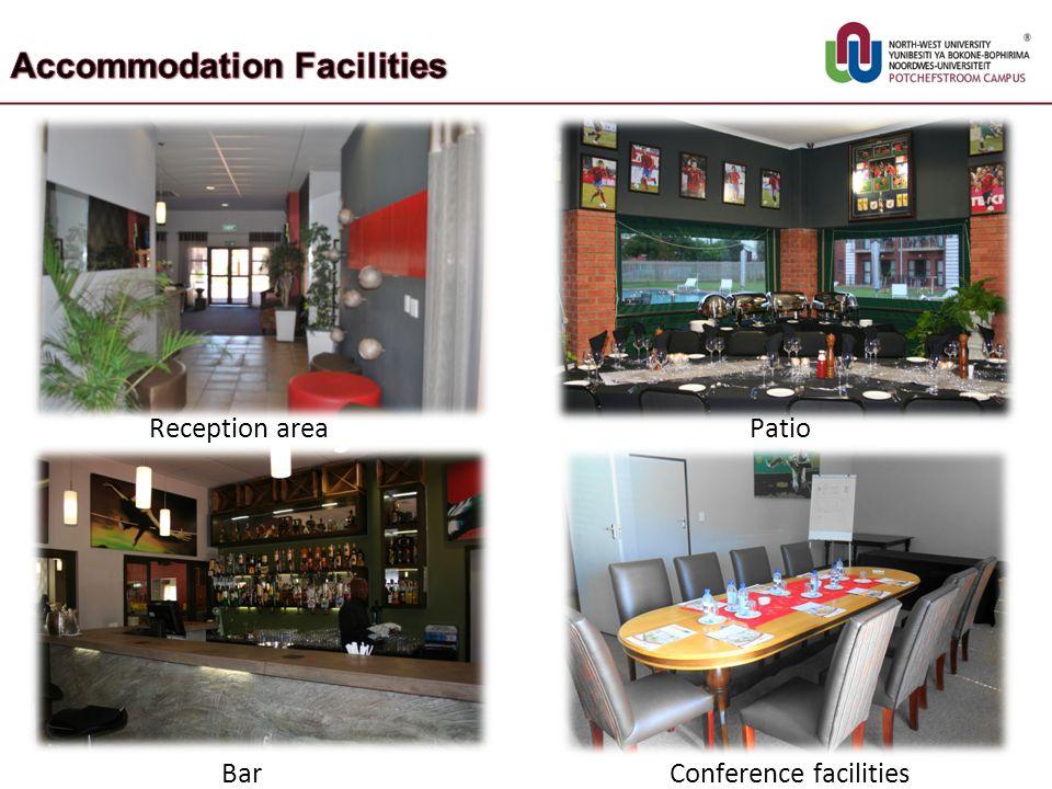 Reception area Patio Bar Conference facilities