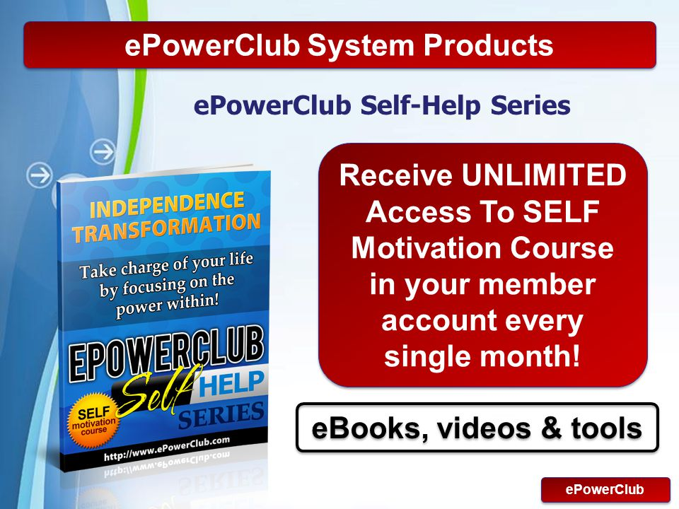 Powerpoint Templates Page 12 ePowerClub System Products ePowerClub Self-Help Series ePowerClub Receive UNLIMITED Access To SELF Motivation Course in y