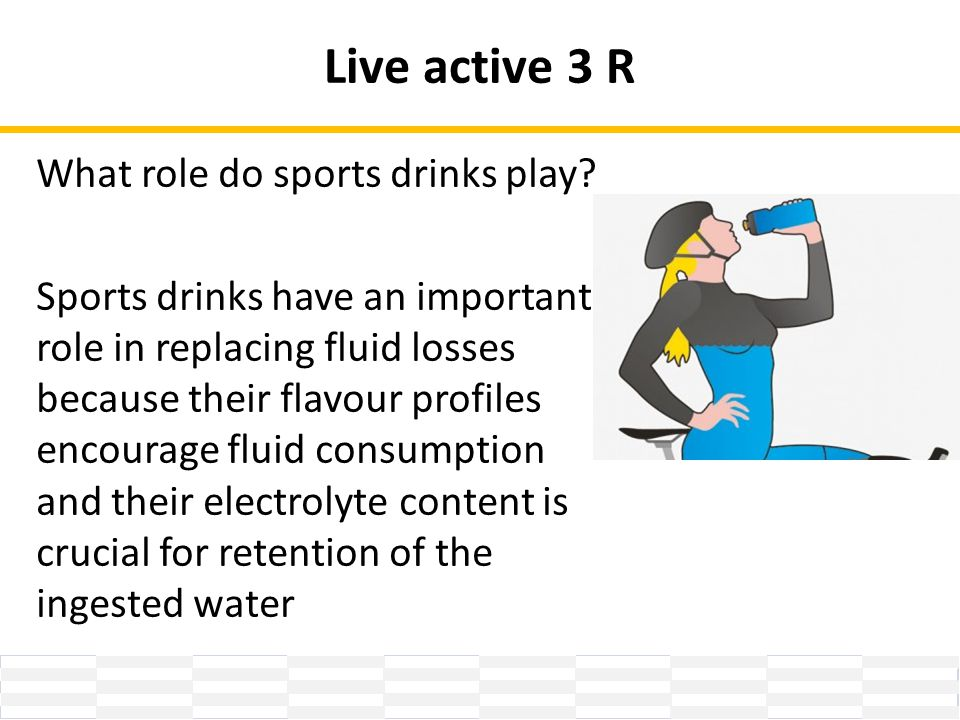 Live active 3 R What role do sports drinks play.