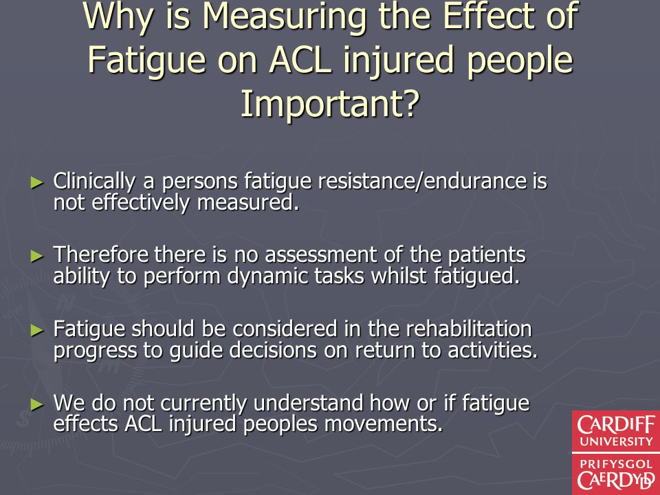 Why is Measuring the Effect of Fatigue on ACL injured people Important.