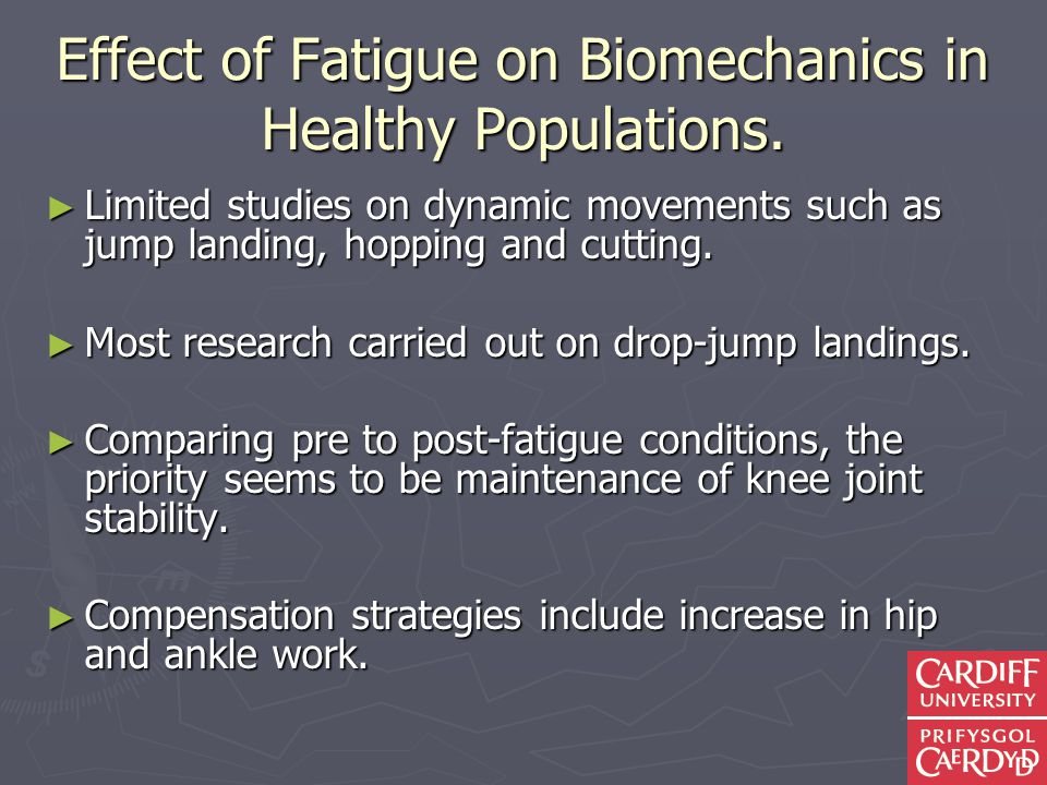 Effect of Fatigue on Biomechanics in Healthy Populations.