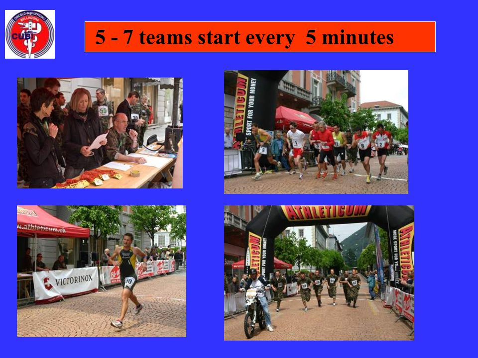 5 - 7 teams start every 5 minutes