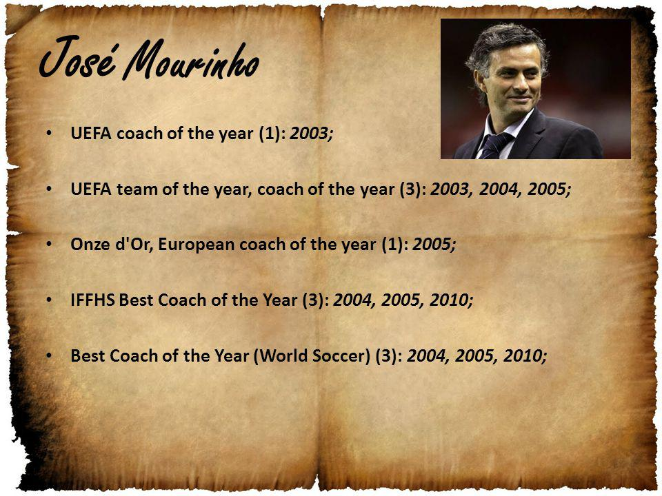 José Mourinho UEFA coach of the year (1): 2003; UEFA team of the year, coach of the year (3): 2003, 2004, 2005; Onze d Or, European coach of the year (1): 2005; IFFHS Best Coach of the Year (3): 2004, 2005, 2010; Best Coach of the Year (World Soccer) (3): 2004, 2005, 2010;