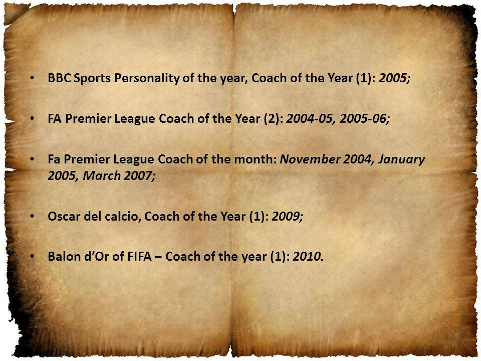 BBC Sports Personality of the year, Coach of the Year (1): 2005; FA Premier League Coach of the Year (2): 2004-05, 2005-06; Fa Premier League Coach of the month: November 2004, January 2005, March 2007; Oscar del calcio, Coach of the Year (1): 2009; Balon dOr of FIFA – Coach of the year (1): 2010.