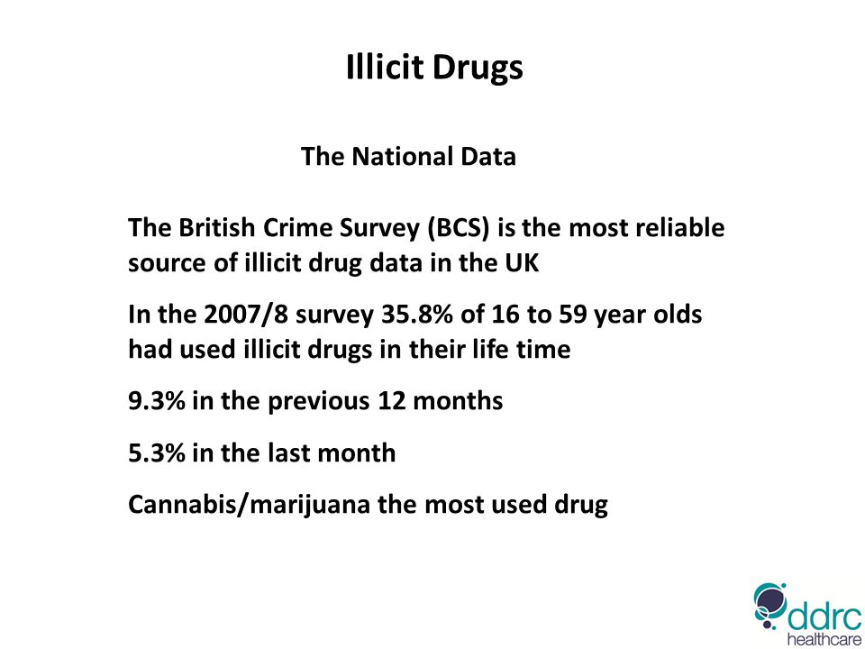 The National Data The British Crime Survey (BCS) is the most reliable source of illicit drug data in the UK In the 2007/8 survey 35.8% of 16 to 59 yea