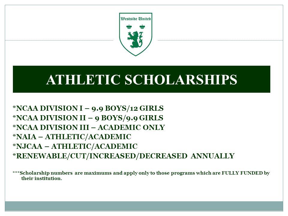 *NCAA DIVISION I – 9.9 BOYS/12 GIRLS *NCAA DIVISION II – 9 BOYS/9.9 GIRLS *NCAA DIVISION III – ACADEMIC ONLY *NAIA – ATHLETIC/ACADEMIC *NJCAA – ATHLETIC/ACADEMIC *RENEWABLE/CUT/INCREASED/DECREASED ANNUALLY ***Scholarship numbers are maximums and apply only to those programs which are FULLY FUNDED by their institution.