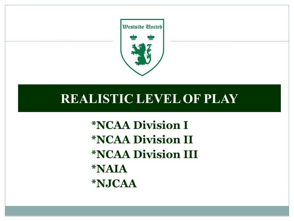 *NCAA Division I *NCAA Division II *NCAA Division III *NAIA *NJCAA REALISTIC LEVEL OF PLAY