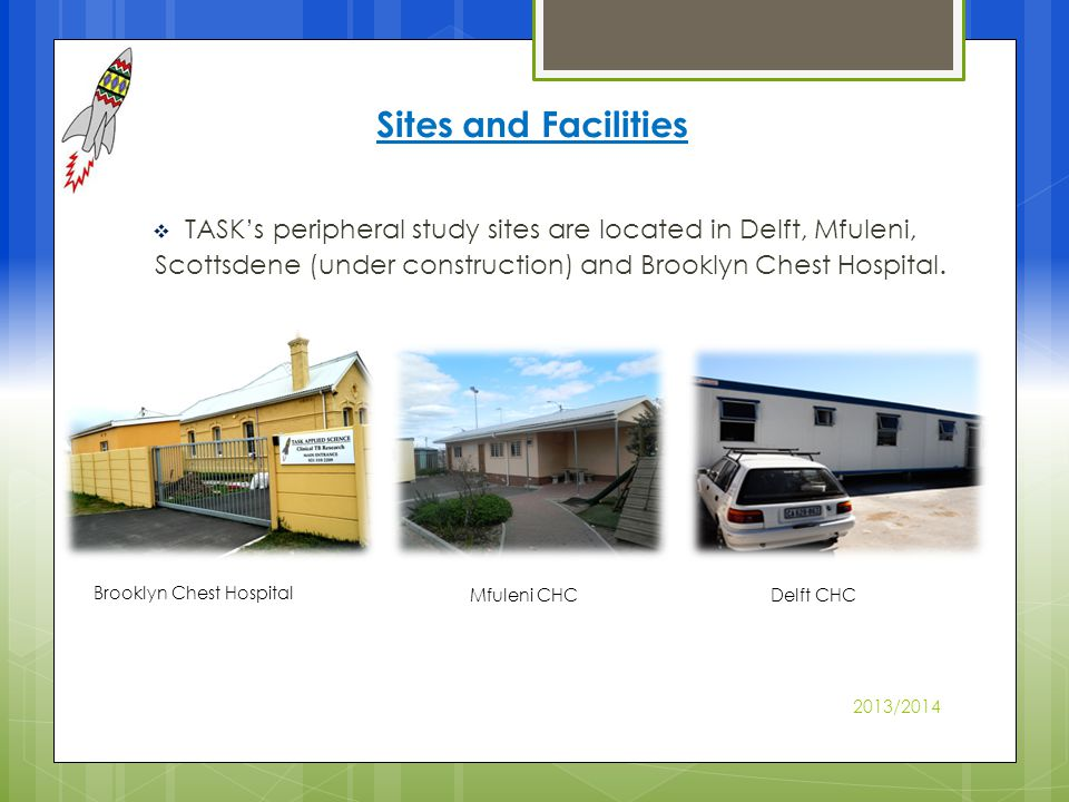 Delft CHC Mfuleni CHC Brooklyn Chest Hospital TASKs peripheral study sites are located in Delft, Mfuleni, Scottsdene (under construction) and Brooklyn Chest Hospital.