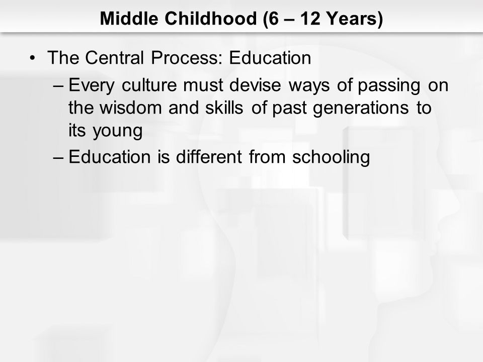 Middle Childhood (6 – 12 Years) The Central Process: Education –Every culture must devise ways of passing on the wisdom and skills of past generations