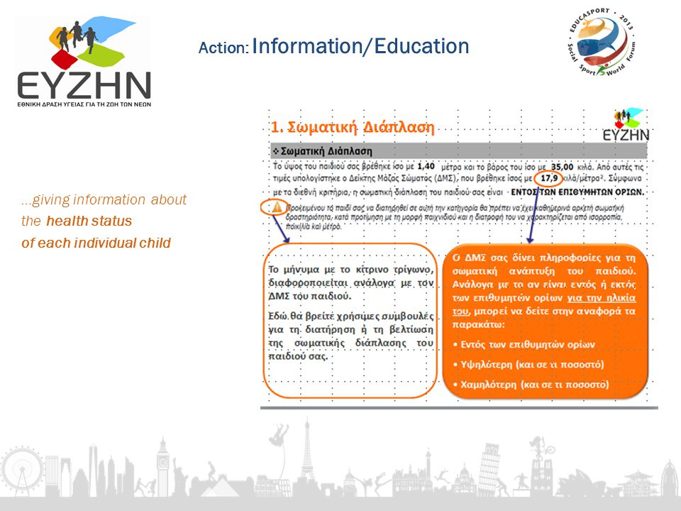 …giving information about the health status of each individual child Action: Information/Education