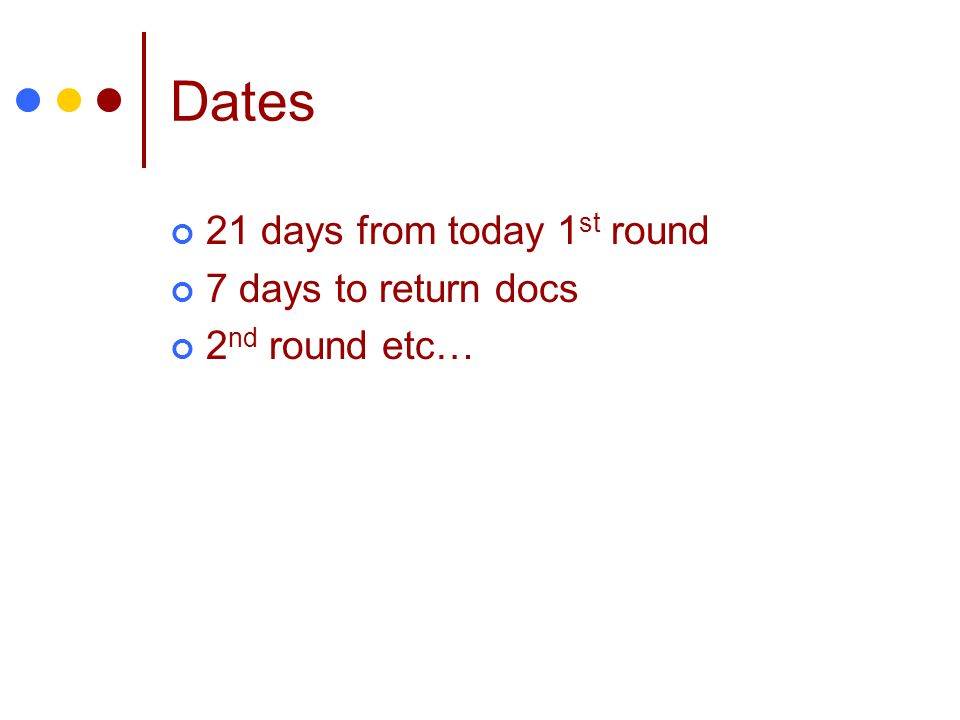 Dates 21 days from today 1 st round 7 days to return docs 2 nd round etc…