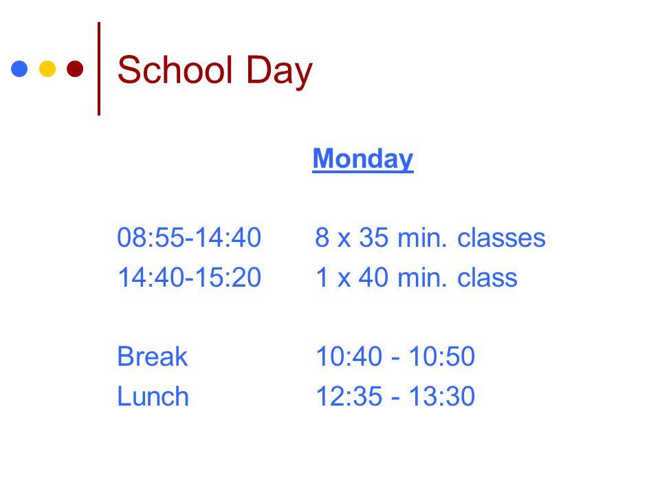 School Day Monday 08:55-14:408 x 35 min.classes 14:40-15:201 x 40 min.