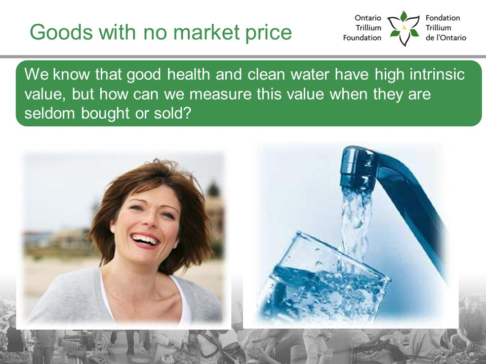 14 Goods with no market price We know that good health and clean water have high intrinsic value, but how can we measure this value when they are seldom bought or sold?