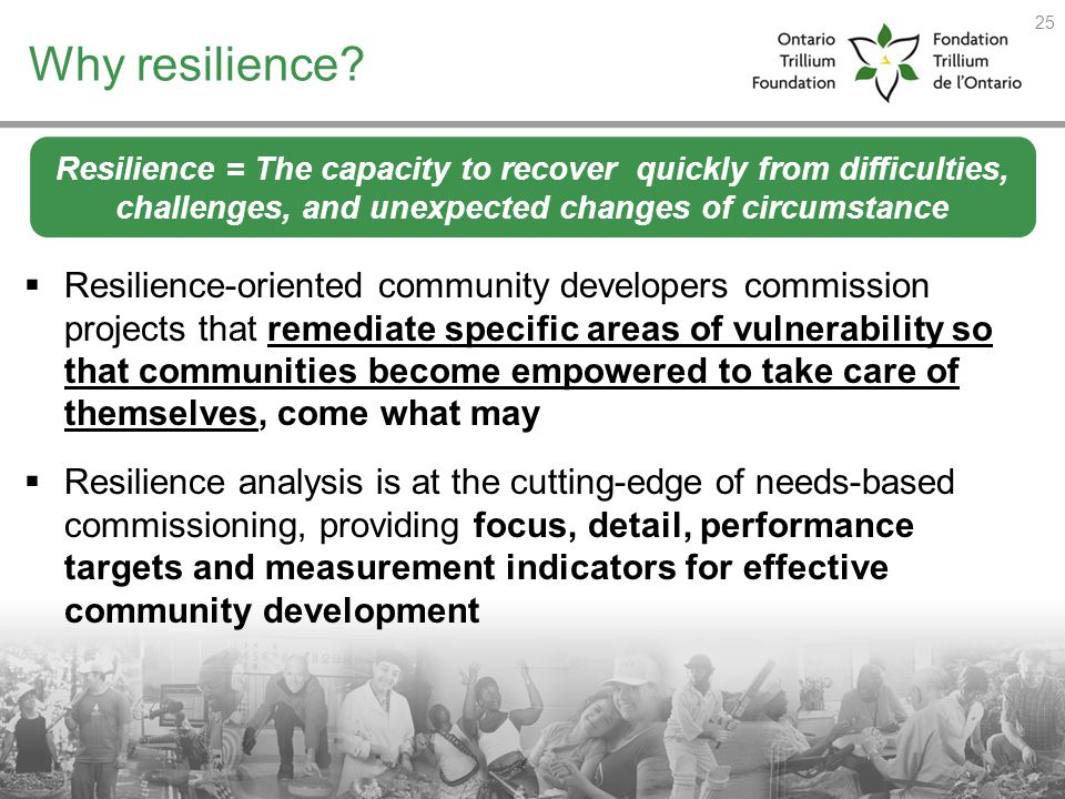 Why resilience? Resilience-oriented community developers commission projects that remediate specific areas of vulnerability so that communities become