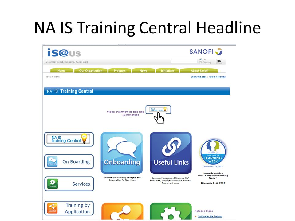 NA IS Training Central Headline