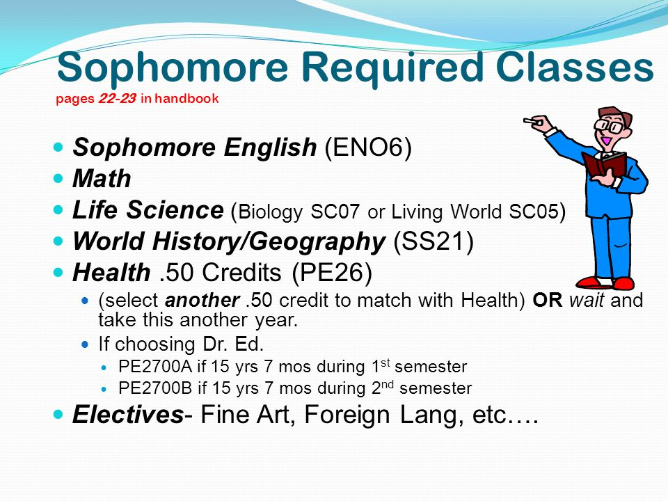 Sophomore Required Classes pages 22-23 in handbook Sophomore English (ENO6) Math Life Science ( Biology SC07 or Living World SC05 ) World History/Geog