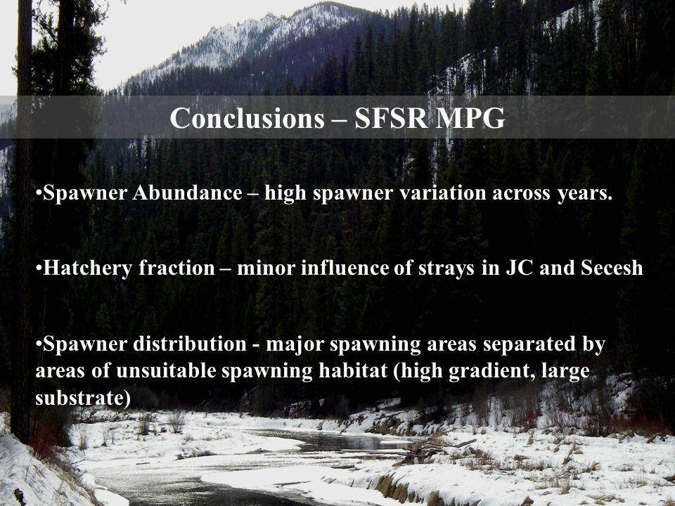Conclusions – SFSR MPG Spawner Abundance – high spawner variation across years.
