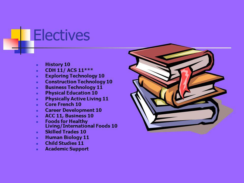 Electives History 10 CDH 11/ ACS 11*** Exploring Technology 10 Construction Technology 10 Business Technology 11 Physical Education 10 Physically Active Living 11 Core French 10 Career Development 10 ACC 11, Business 10 Foods for Healthy Living/International Foods 10 Skilled Trades 10 Human Biology 11 Child Studies 11 Academic Support