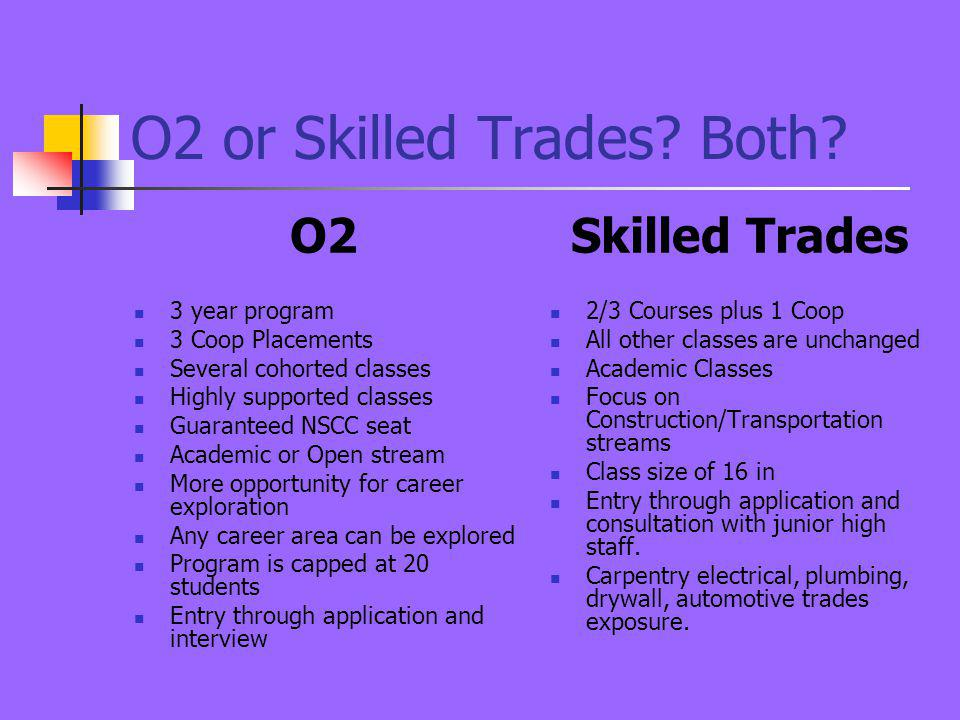 O2 or Skilled Trades? Both? O2 3 year program 3 Coop Placements Several cohorted classes Highly supported classes Guaranteed NSCC seat Academic or Ope