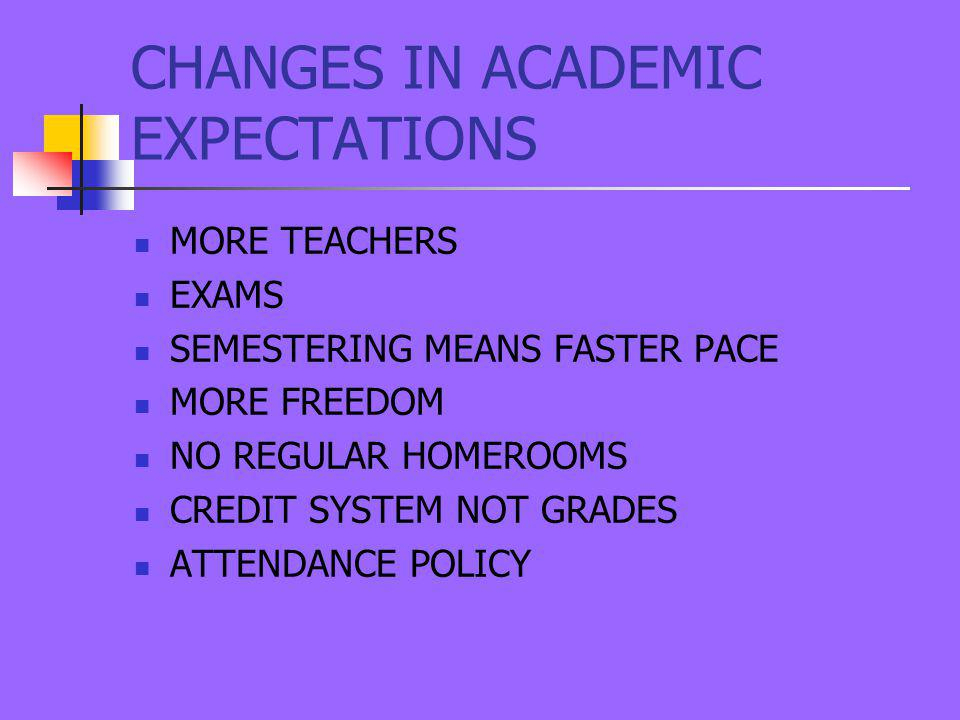 CHANGES IN ACADEMIC EXPECTATIONS MORE TEACHERS EXAMS SEMESTERING MEANS FASTER PACE MORE FREEDOM NO REGULAR HOMEROOMS CREDIT SYSTEM NOT GRADES ATTENDANCE POLICY