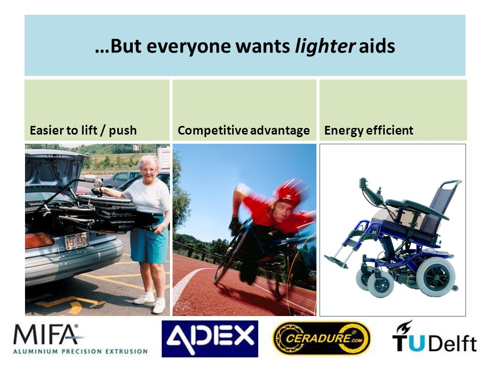…But everyone wants lighter aids Easier to lift / push Competitive advantageEnergy efficient
