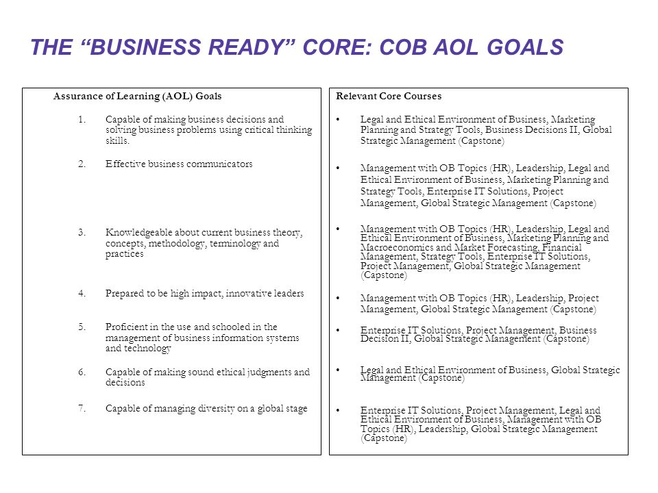 THE BUSINESS READY CORE: COB AOL GOALS Assurance of Learning (AOL) Goals 1.Capable of making business decisions and solving business problems using critical thinking skills.