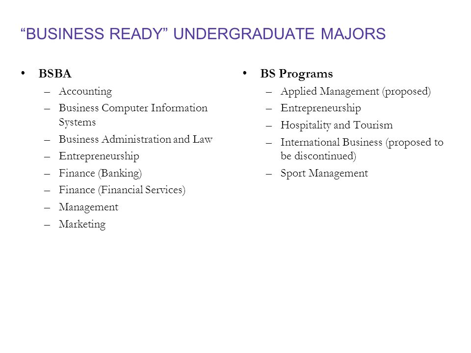 BUSINESS READY UNDERGRADUATE MAJORS BSBA –Accounting –Business Computer Information Systems –Business Administration and Law –Entrepreneurship –Finance (Banking) –Finance (Financial Services) –Management –Marketing BS Programs – Applied Management (proposed) – Entrepreneurship – Hospitality and Tourism – International Business (proposed to be discontinued) – Sport Management