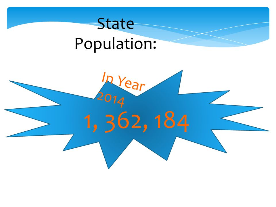 State Population: 1, 362, 184 In Year 2014