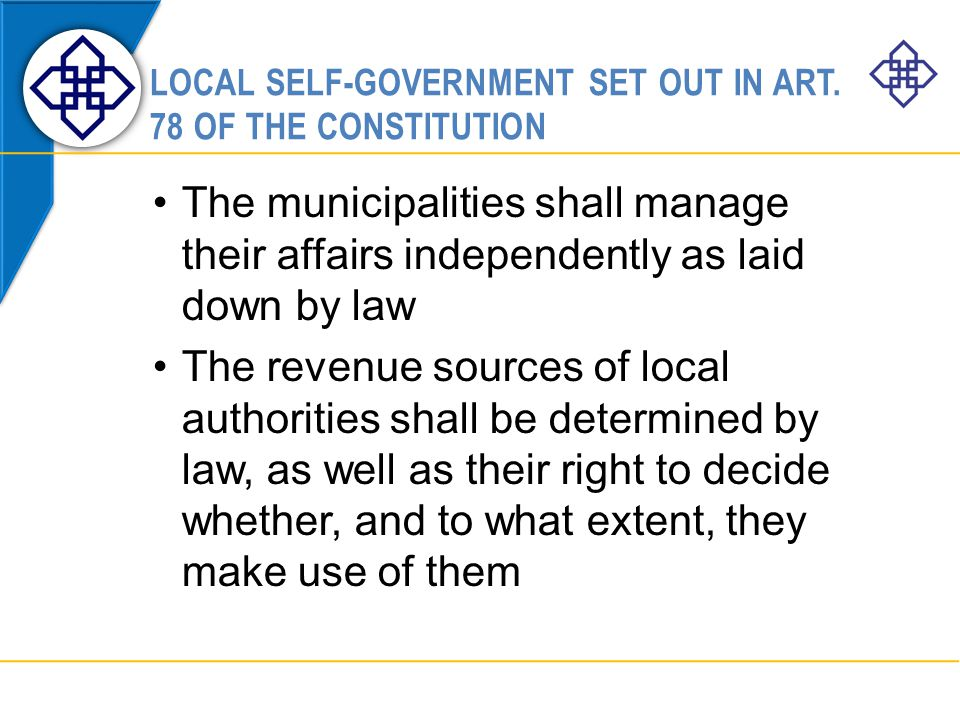 LOCAL SELF-GOVERNMENT SET OUT IN ART.