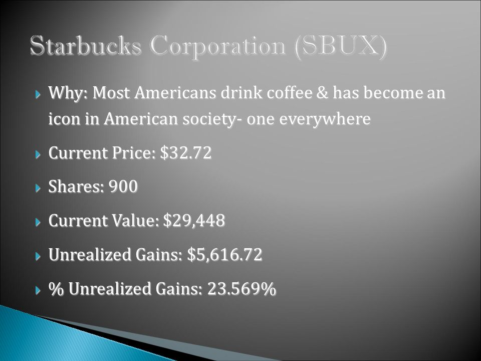 Why: Most Americans drink coffee & has become an icon in American society- one everywhere Why: Most Americans drink coffee & has become an icon in American society- one everywhere Current Price: $32.72 Current Price: $32.72 Shares: 900 Shares: 900 Current Value: $29,448 Current Value: $29,448 Unrealized Gains: $5, Unrealized Gains: $5, % Unrealized Gains: % % Unrealized Gains: %
