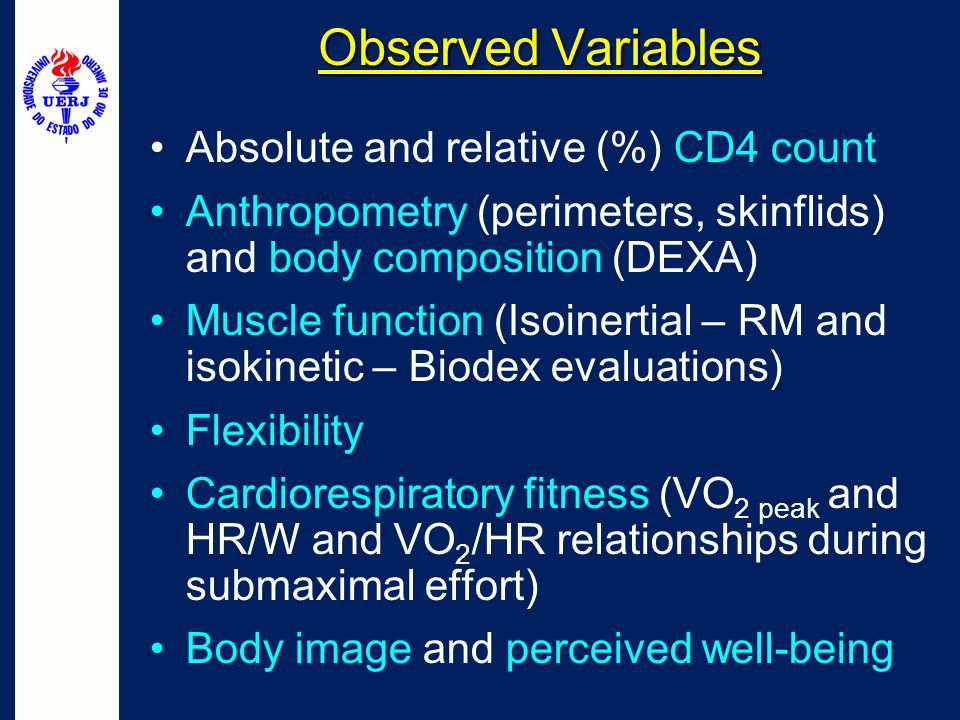 Observed Variables Absolute and relative (%) CD4 count Anthropometry (perimeters, skinflids) and body composition (DEXA) Muscle function (Isoinertial