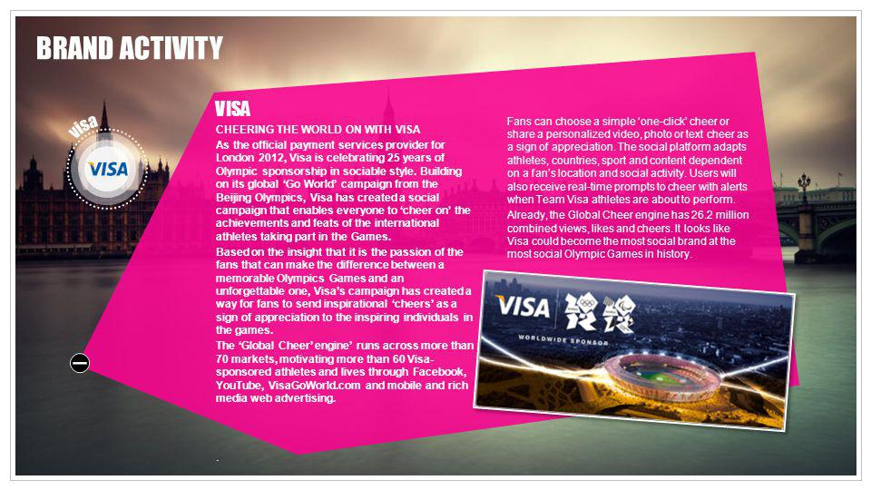 VISA CHEERING THE WORLD ON WITH VISA As the official payment services provider for London 2012, Visa is celebrating 25 years of Olympic sponsorship in