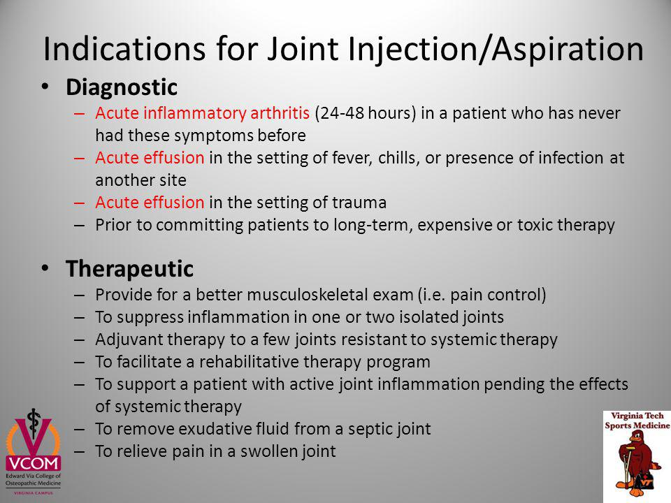 What Patients (and Providers) Need to Know about Joint Injection Relief will typically last weeks or longer Avoid injecting ligamentous or tendon structure directly Activity modification following injections of steroids is uncertain Maximal number of injections and the required period between injections have not been determined Nichols, A Clin J Sport Med 2005;15(5) : E370 Pfenninger JL.