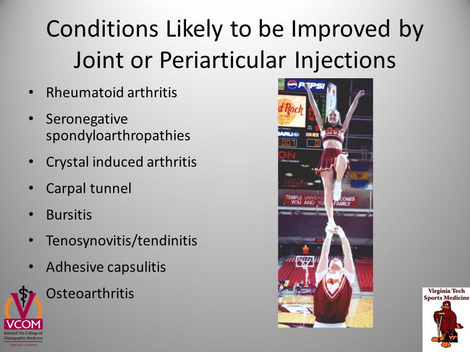 What Patients (and Providers) Need to Know about Joint Injection In a meta-analysis summarizing 25+ studies, they noted a 5.5% complication rate – The most common side effects included skin atrophy (2.4%), skin depigmentation (0.8%), localized erythema and warmth (0.7%), and facial flushing (0.6%) – Post-injection pain was noted in up to 9% of patients – Post injection flare (2-5%) – Prolonged and repeated usage may increase the risk of complications and systemic side effects In diabetic patients, hyperglycemia has been shown to persist up to 5 days after a single soft tissue injection (very low risk) Dietzel, D Current Sports Medicine Reports 2004, 3:310–315 Nepple, J.