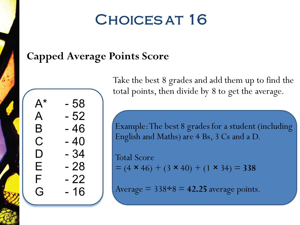 A*- 58 A - 52 B - 46 C - 40 D - 34 E - 28 F - 22 G - 16 Take the best 8 grades and add them up to find the total points, then divide by 8 to get the average.